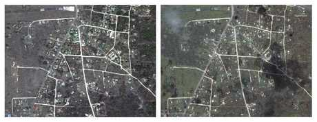 This combination of satellite images provided by DigitalGlobe shows Codrington in Antigua and Barbuda on April 24, 2014 and Friday, Sept. 8, 2017, after Hurricane Irma. Irma cut a path of devastation across the northern Caribbean, leaving thousands homeless after destroying buildings and uprooting trees.