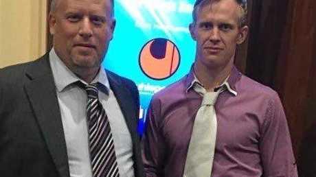 Springfield United's Capital League 4 MVP Kevin Barraclough with club president Scott Harding.