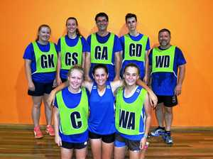 Fossils n Fit were one of the star teams in last year's mixed netball (back, from left)              Renee McLean, Amelia Meek, Keith Waples, Clancy Sweedman, Andrew McLean, (front)      Ashleigh McLean, Sophie Waples and Bella Newton.