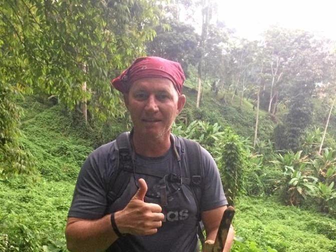 Greg on his way down the Kokoda trail.