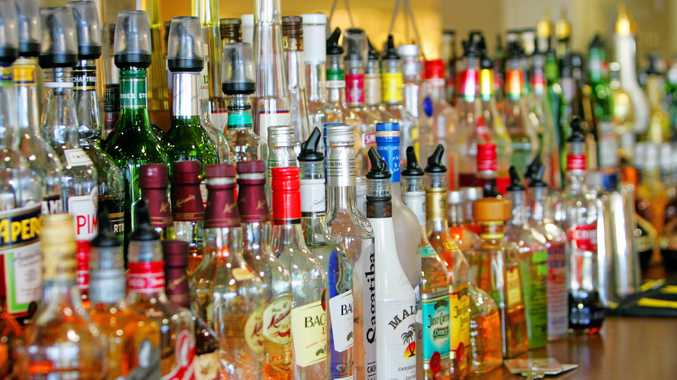 FILE PHOTO: Booze lined up at a pub.