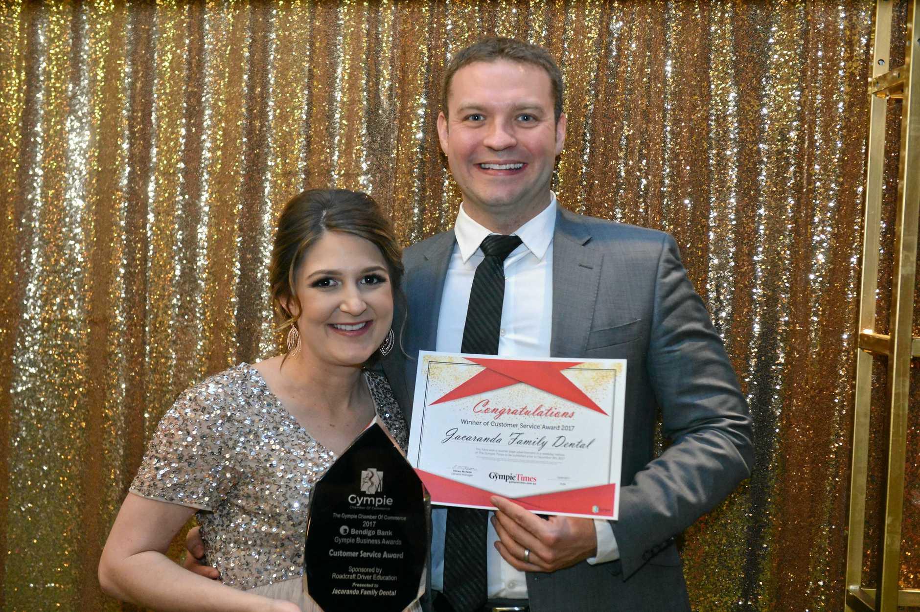 WINNERS: Gympie Chamber of Commerce Customer Service Award winners were Jacaranda Family Dental represented by Sam and Adam Bradshaw.