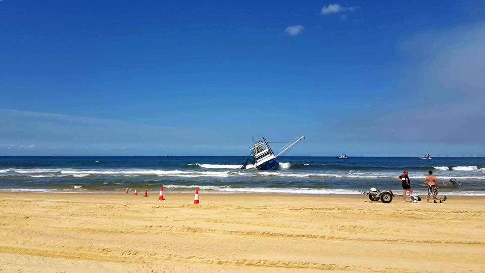 BOAT INCIDENT: The trawler ran aground at Fraser Island. Photo: 7 News Wide Bay