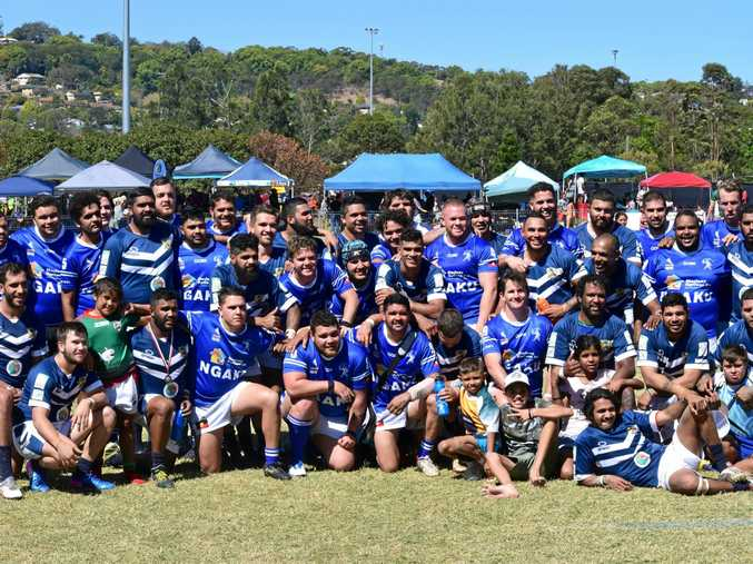 Cabbage Tree Island and Ngaku after their game on Saturday. Cabbage Tree Island went on to win the $10,000 event.