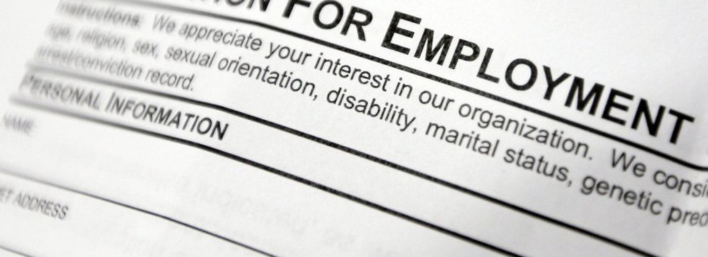 This April 22, 2014, photo shows an employment application form on a table during a job fair at Columbia-Greene Community College in Hudson, N.Y. The Labor Department said Friday, May 2, 2014, that U.S. employers added a robust 288,000 jobs in April, the most in two years, the strongest evidence to date that the economy is picking up after a brutal winter slowed growth. (AP Photo/Mike Groll)