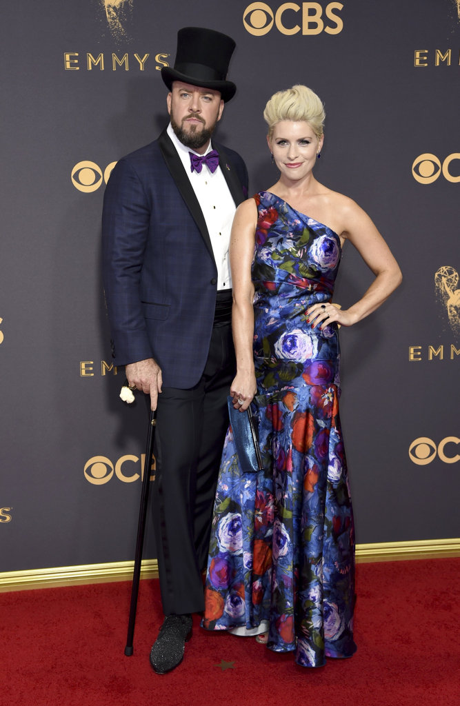 Chris Sullivan, left, and Rachel Reichard arrive at the 69th Primetime Emmy Awards on Sunday, Sept. 17, 2017, at the Microsoft Theater in Los Angeles.