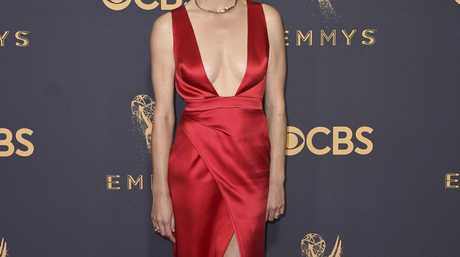 Yvonne Strahovski arrives at the 69th Primetime Emmy Awards on Sunday, Sept. 17, 2017, at the Microsoft Theater in Los Angeles.