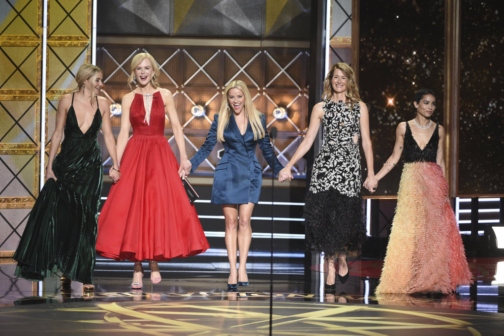 Shailene Woodley, from left, Nicole Kidman, Reese Witherspoon, Laura Dern and Zoe Kravitz appear at the 69th Primetime Emmy Awards in Los Angeles.