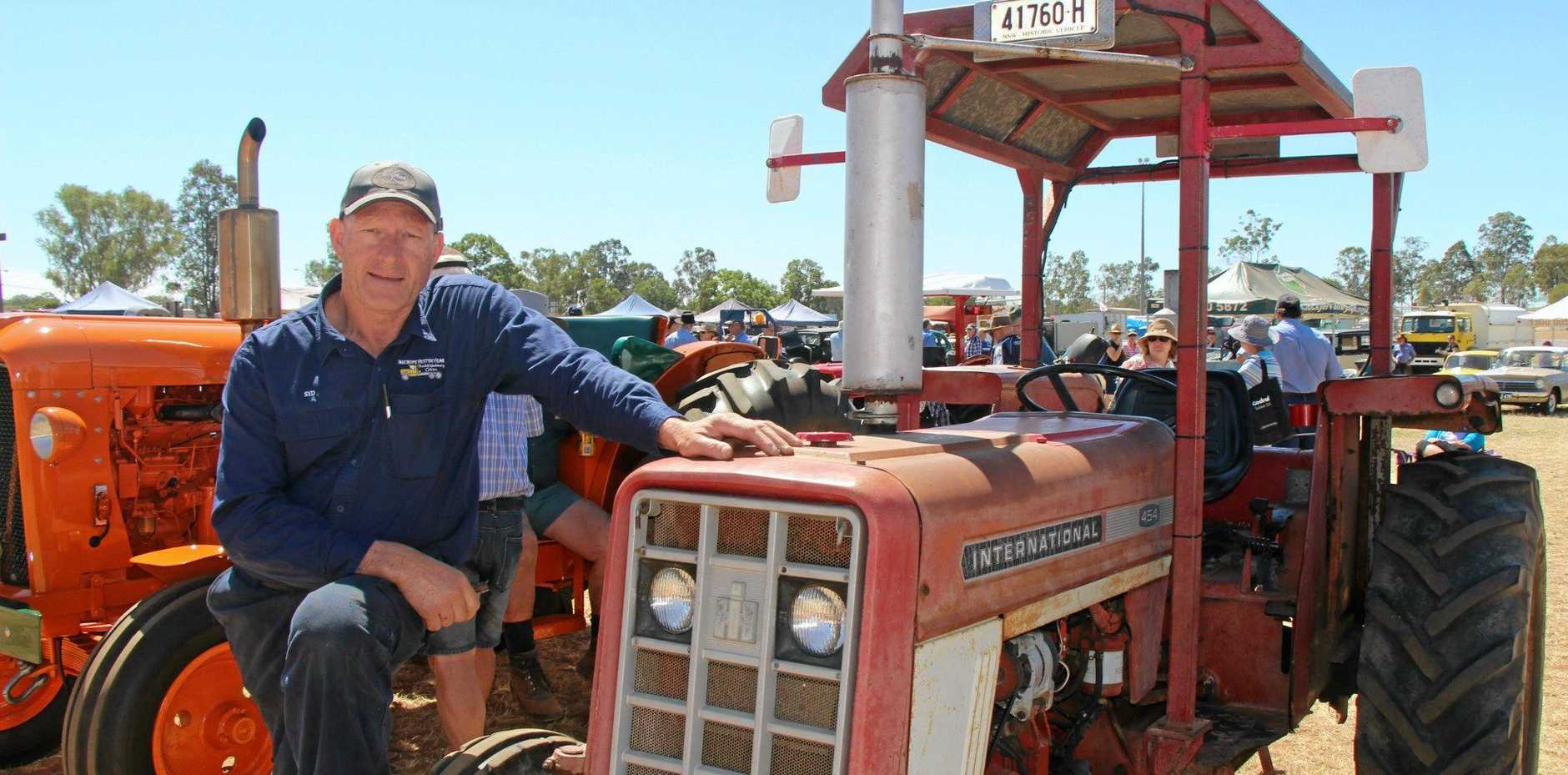 Syd Ramsay drove from Kew NSW to show off his 1973 tractor, inherited from his father, at the 2017 Old Truck and Machinery Show in Gatton.