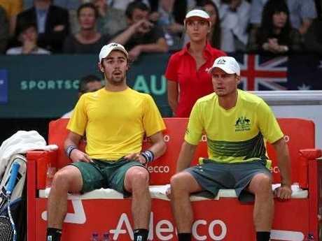 Jordan Thompson and Lleyton Hewitt.