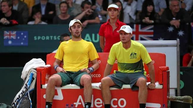 Jordan Thompson and Lleyton Hewitt.