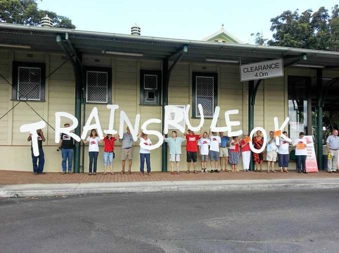 Northern Rivers Railway Action Group protest at Murwillumbah.