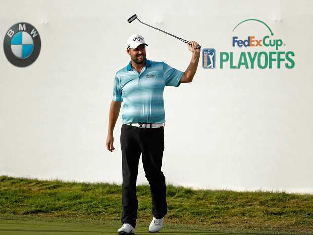 Marc Leishman reacts after winning the BMW Championship at Conway Farms Golf Club.