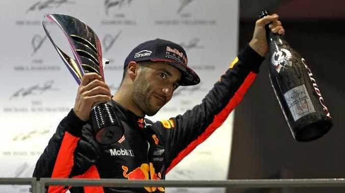 Daniel Ricciardo after his second placing behind Lewis Hamilton. Photo: Getty