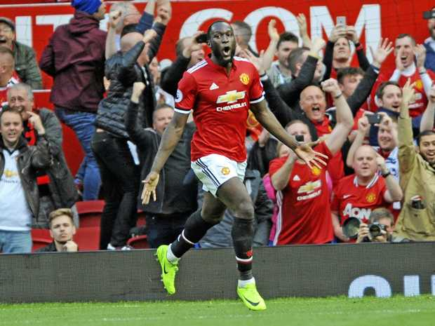 Manchester United's Romelu Lukaku celebrates after scoring his side's third goal in the 4-0 win over Everton.