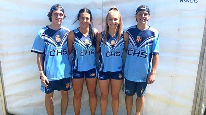 New South Wales Combined High Schools state touch football representatives, Nathan Glen, Olivia Attenborough-Doyle, Tarryn Aiken and Josh Wilmott at the National Youth Championships in Kawana, Queensland.