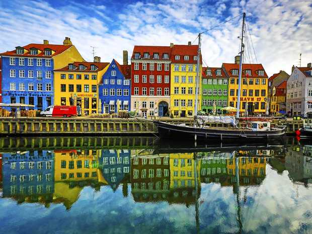 Brightly painted buildings are a feature of Nyhavn, a 17th century waterfront, canal and entertainment district in the Danish capital of Copenhagen.