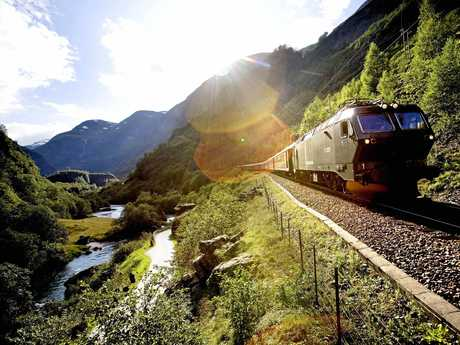 A train on Norway's Flamm Railway, which Lonely Planet has called the world's most beautiful train trip.
