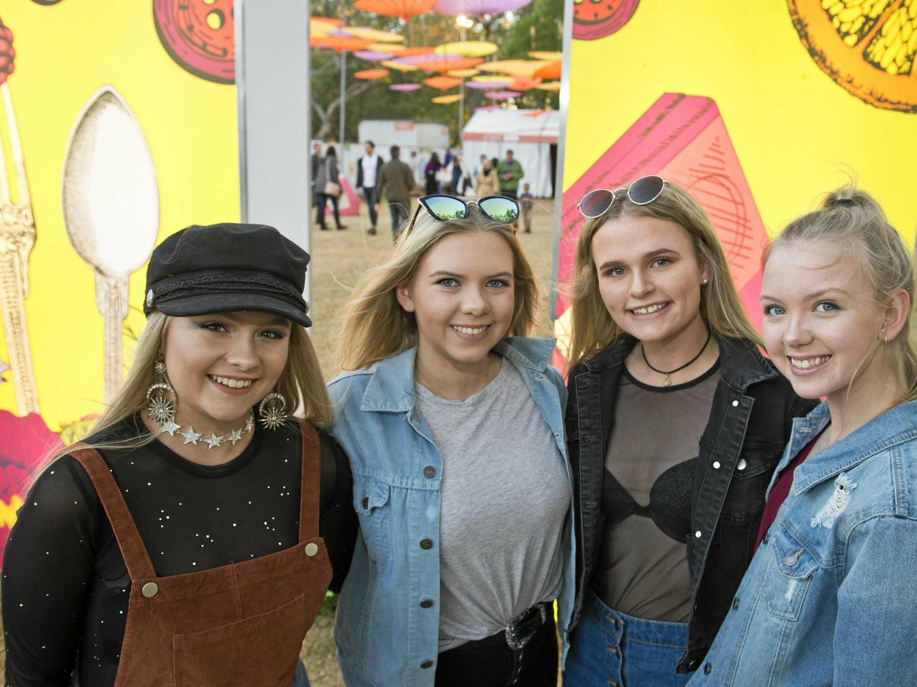 Having a ball are (from left) Brooke Treadwell, Ashley Duff, Amber Siebenhausen and Caitlin Duff at Ergon Energy Food and Wine Festival in Queens Park as part of Carnival of Flowers 2017, Friday, September15, 2017.