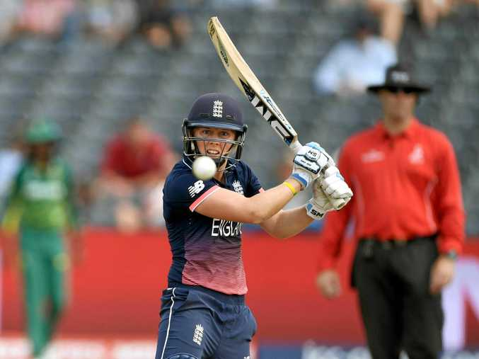 England batter Heather Knight hits out during the ICC Women's World Cup semi-final.
