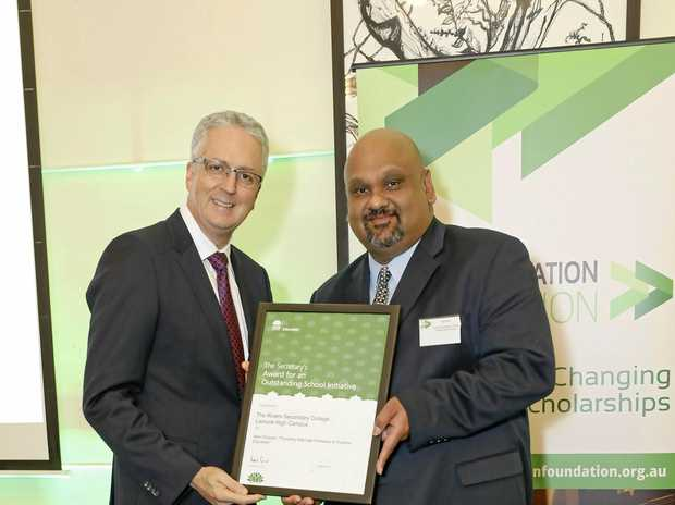 """PRESIGIOUS AWARD: Rivers Secondary College, Lismore High Campus principal Nigel Brito, attended the Minister's Awards where Mark Scott, Secretary NSW Department of Education, to receive three awards for """"Outstanding School Initiative""""."""