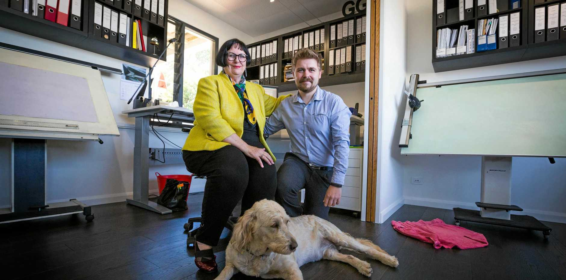 Architects Ann and Oliver Gee of g2 Architects and Gizmo, who handles their PR.