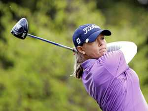 Katherine Kirk plays a shot on the 4th hole during the final round of the Evian Championship.