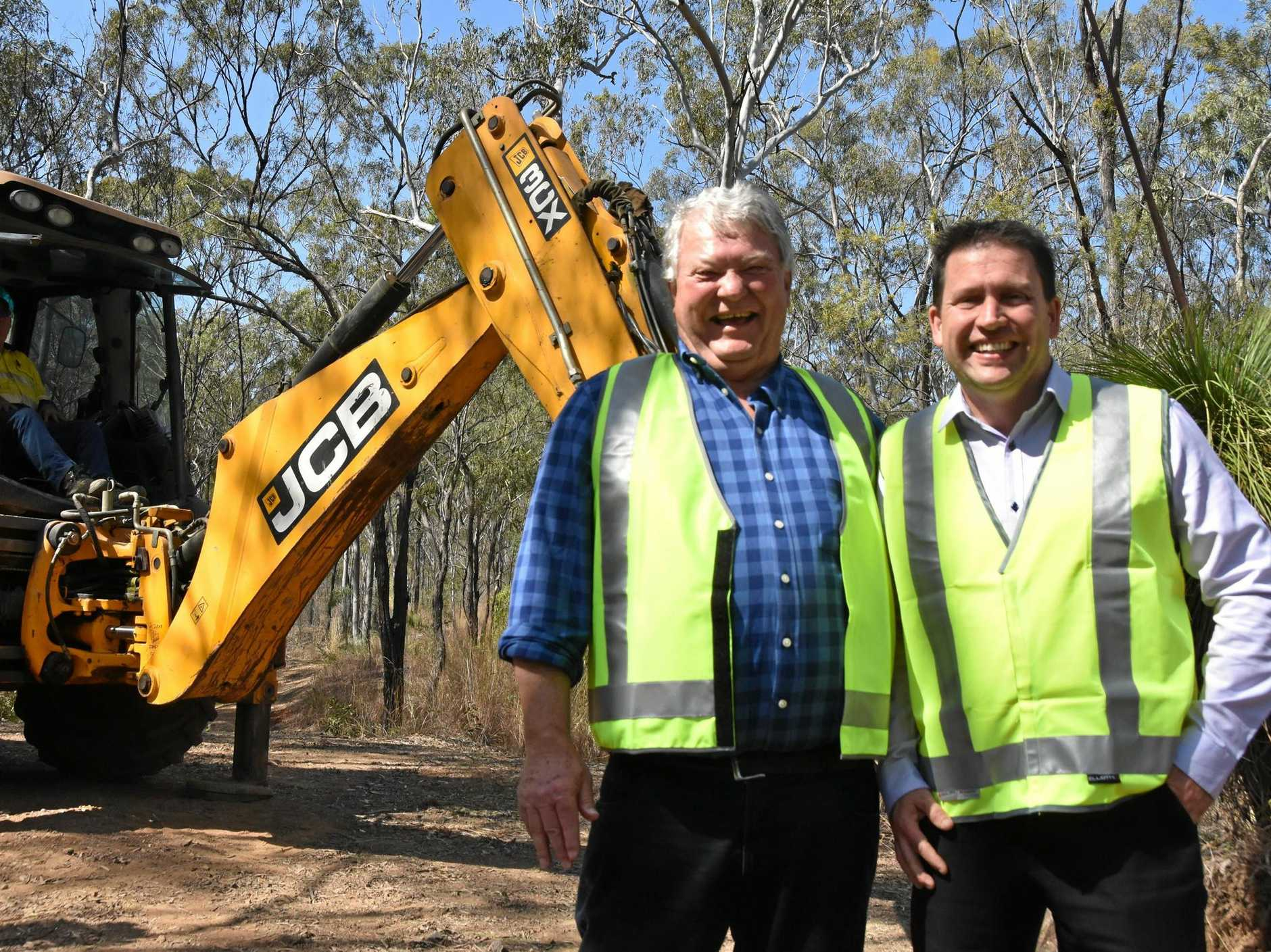 Member for Flynn Ken O'Dowd and Gladstone Region Mayor Matt Burnett at the site of the Philip St precinct.