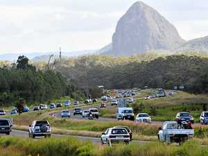 Easter holiday traffic heads home southbound on the Bruce Highway.