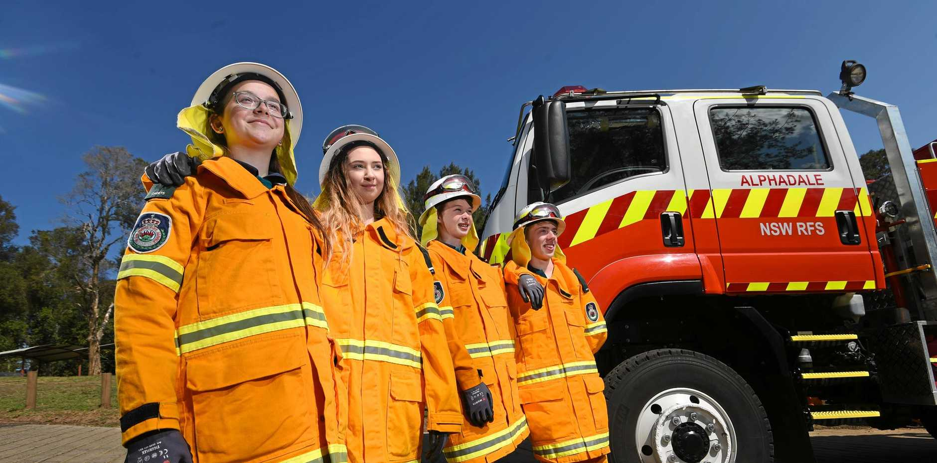 Summerland Christian College students Kiara Watts, 14, CHloe Miller, 16, Liam Fletcher, 15, and Liam Parker, 14, are part of a larger group of students from the school doing a 10 week course with the RFS.