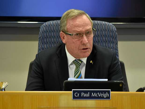 ON THE UP: Mayor Paul McVeigh delivering his 2017/18 Council Budget earlier this year.