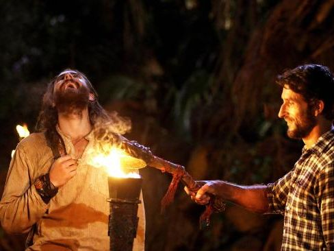 Henry Nicholson and Jonathan LaPaglia pictured on Australian Survivor.
