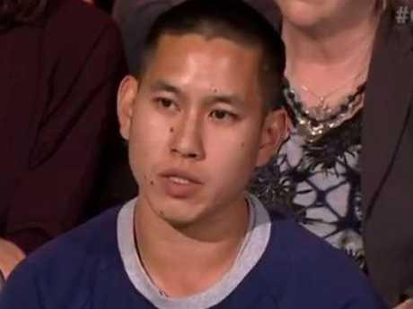 Audience member Alexander Lau challenges Michael Sukkar's argument against same-sex marriage. Picture: ABCSource:ABC