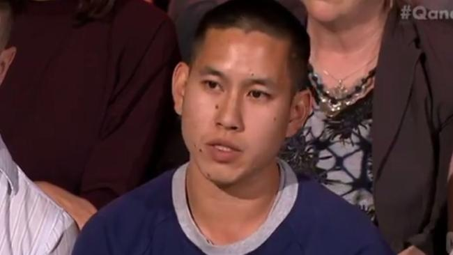 Audience member Alexander Lau challenges Michael Sukkar's argument against same-sex marriage. Picture: ABCSource:ABC