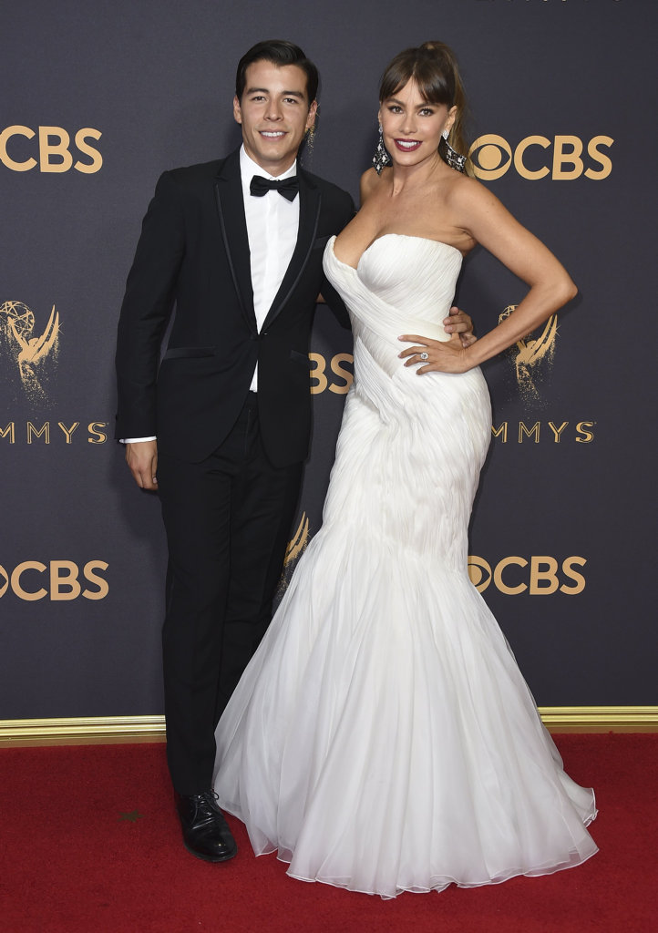 Manolo Gonzalez-Ripoll Vergara, left, and Sofia Vergara arrive at the 69th Primetime Emmy Awards in Los Angeles.