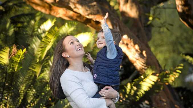 Michelle Jensen with her son Hugh. Hugh is one of only 600 people in the world with a disorder that causes swallowing, hearing and development delays. Hugh and his family are on the National Disability Insurance Scheme.