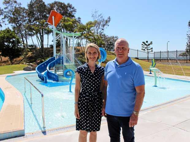 Cr Amanda Cooper joins Sandgate Aquatic Centre operator Craig Crozier to officially launch the centre's new aqua park.