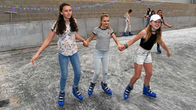 ICE SKATING: Cyra Greville, Jordana Vanstone and Veda Willett having fun at Frozen Wonderland.