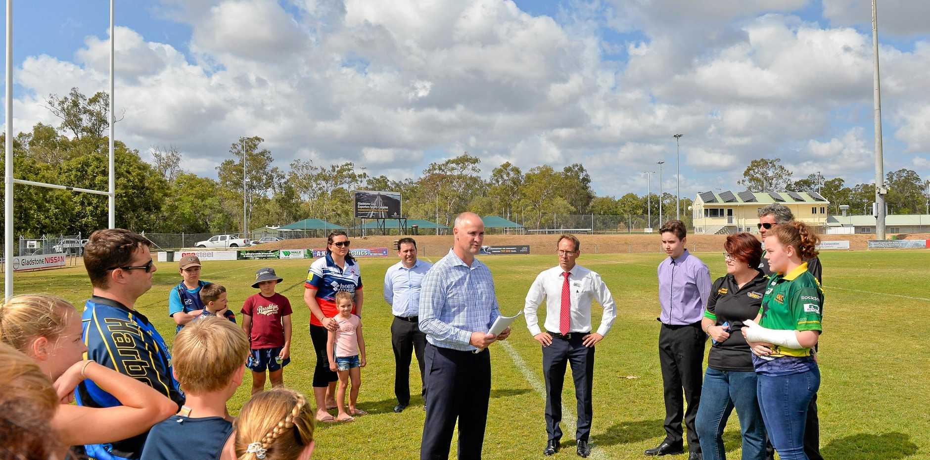 Member for Gladstone Glenn Butcher and Gladstone region Mayor Matt Burnett with the community groups that successfully took a share in the $6 million Works for Queensland program.