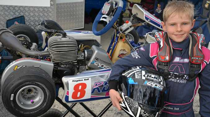 TRACKSIDE: Warwick Karting Club member Hayden Sell after the best day of his career so far.