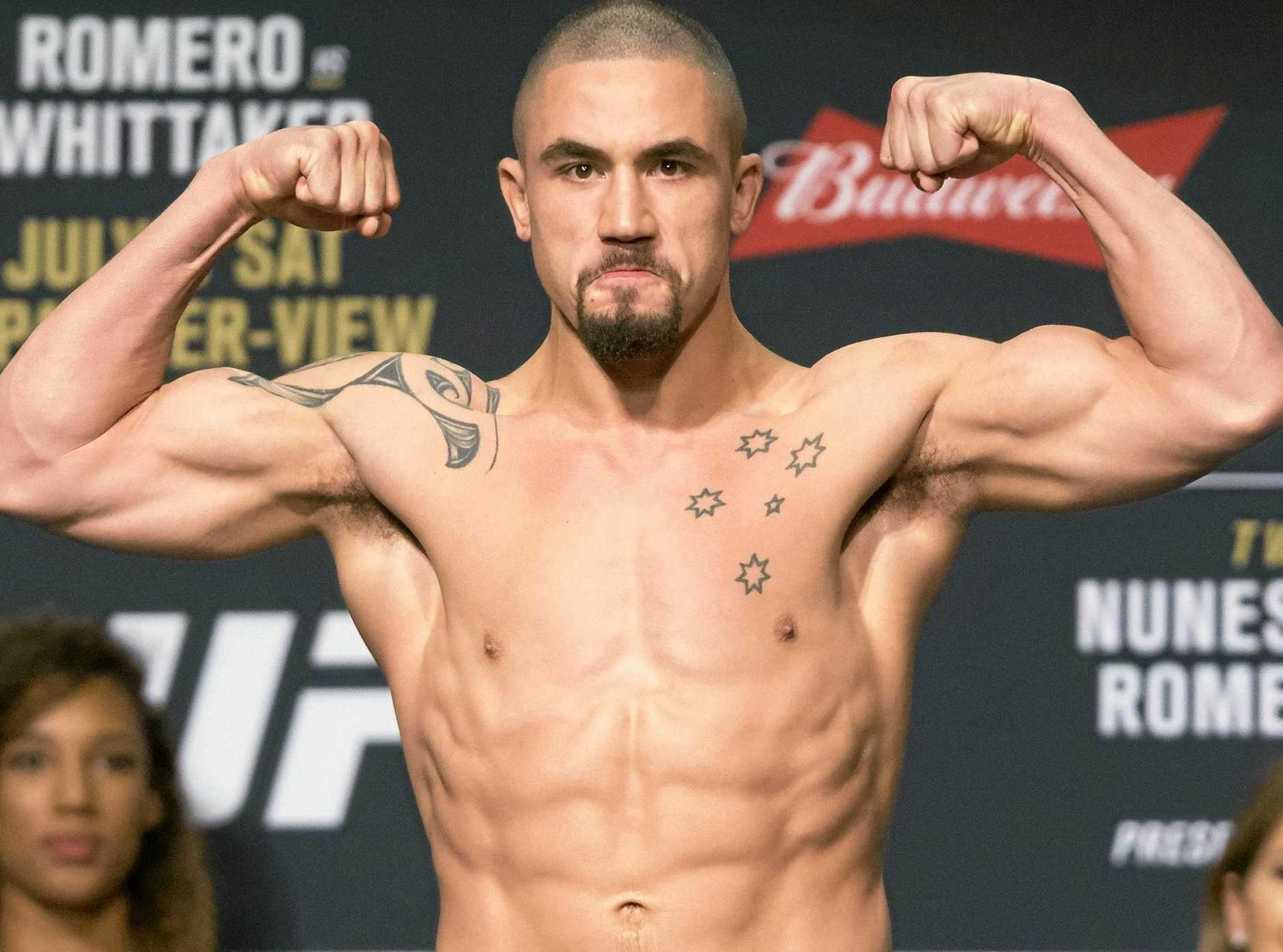 Australian Robert Whittaker poses during a UFC weigh-in in Las Vegas in July.