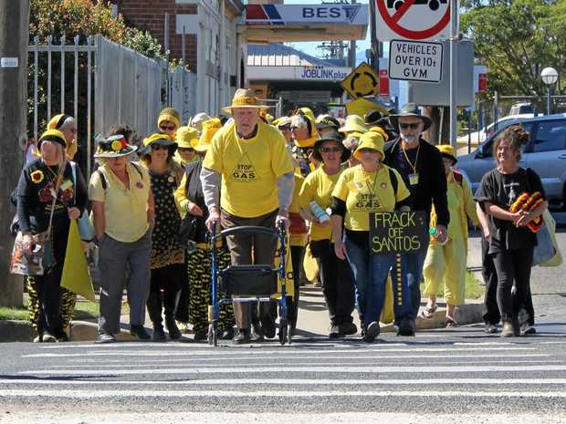 OLDER PROTESTERS: 95-year-old Bill Ryan of the Sydney Knitting Nanas and Friends group joins the Lismore group in protest.