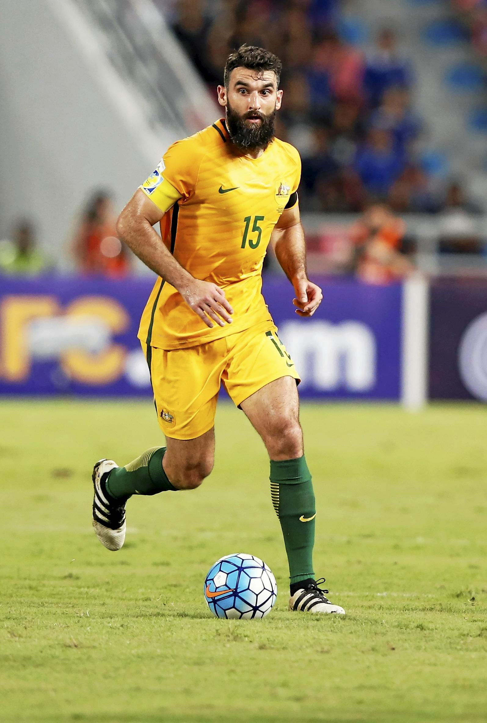 Australian midfielder Mile Jedinak during a World Cup 2018 qualifying match.