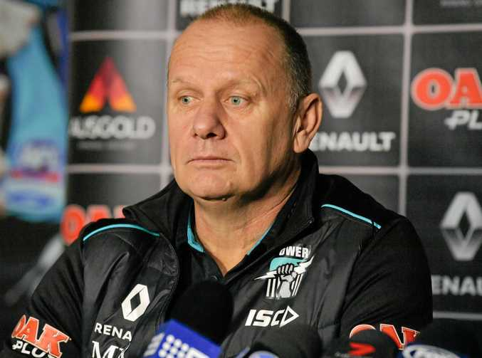 Port Adelaide coach Ken Hinkley at a media conference.