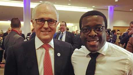 VISIT: Mote Dambo (R) with Prime Minister Malcolm Turnbull at a previous function.