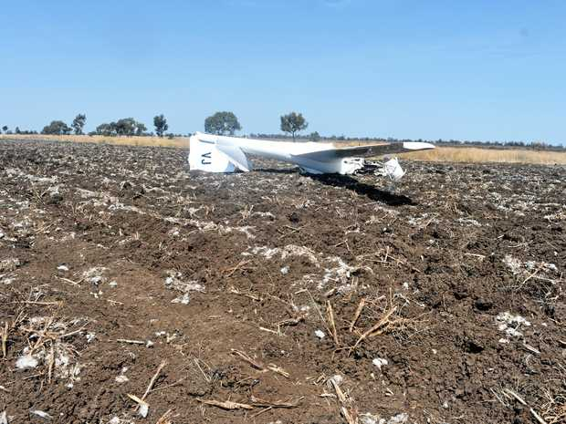 Picture of the air crash that claimed the lives of two people at the Darling Downs Soaring Club on Tuesday morning.