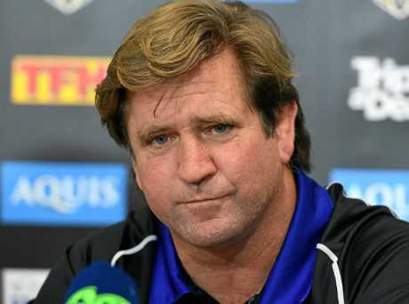 Des Hasler during a press conference