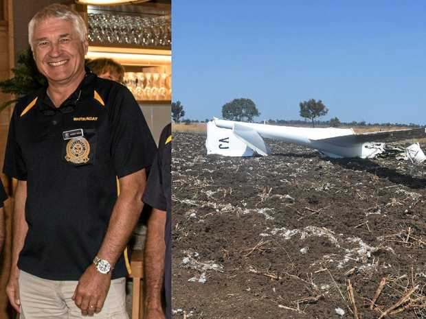 The scene of the air crash that claimed the lives of two people at the Darling Downs Soaring Club on Tuesday morning, including Whitsundays man Norbert Gross (left).