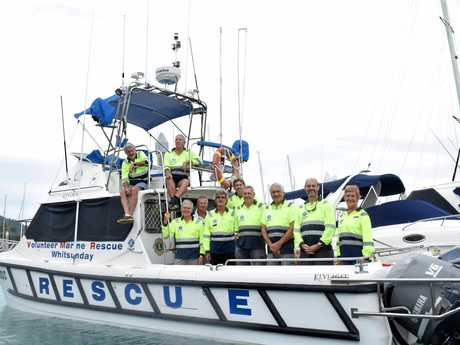 VMR Whitsunday volunteer crew members Geoff Smith, Fin Forbes, Roger Wodson, David Burge, Ronnie Roberts, Mark Wright, Rod Wilson, Norbert Gross, Stu Applegate and Gay Bowden on VMR1.
