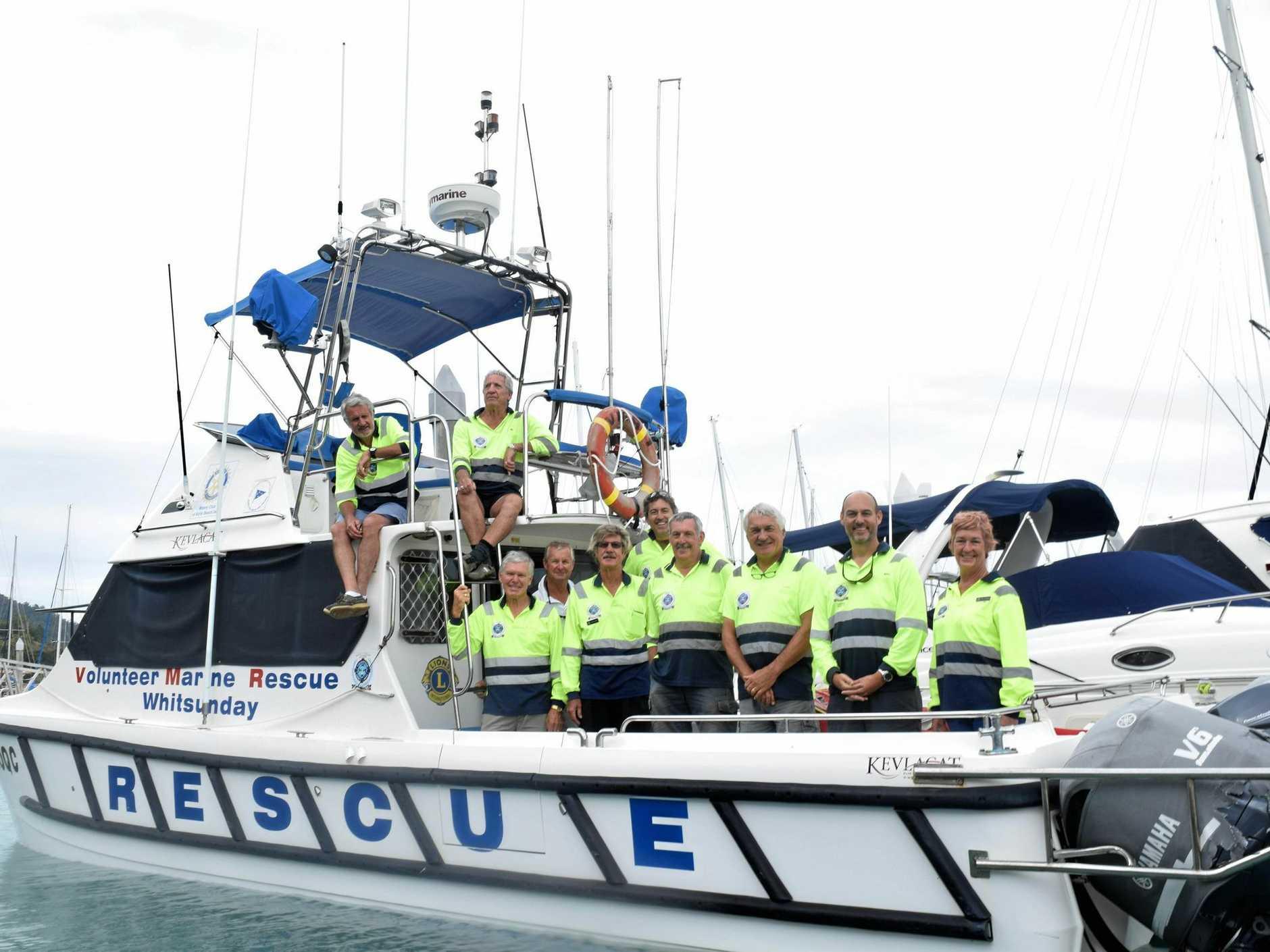 VMR Whitsunday volunteer crew members Geoff Smith, Fin Forbes, Roger Wodson, David Burge, Ronnie Roberts, Mark Wright, Rod Wilson, Norbert Gross, Stu Applegate and Gay Bowden on VMR1.